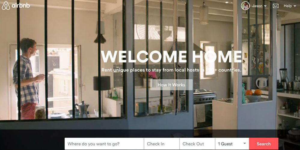Mẫu website du lịch của Airbnb