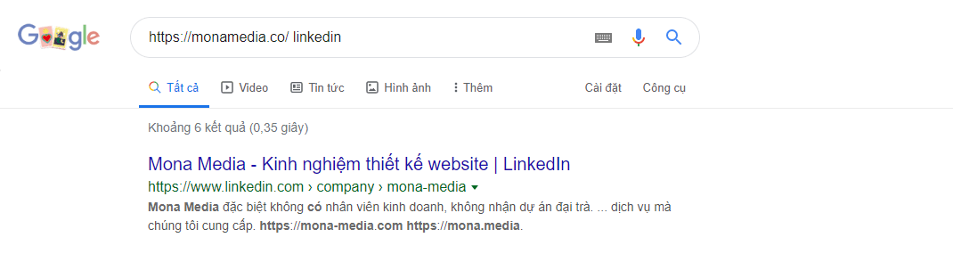 Linkedin của website monamedia.co
