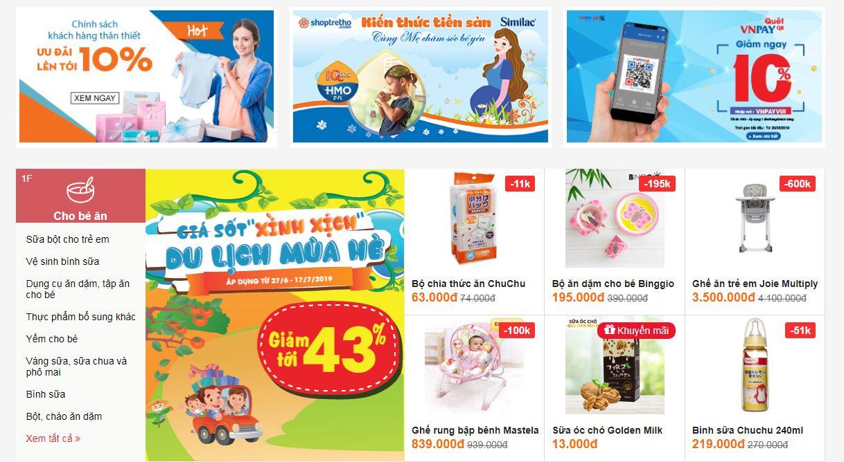 Website bán hàng mẹ và bé - Shoptretho