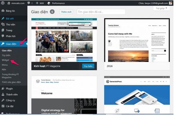 Giao diện WordPress dễ sử dụng