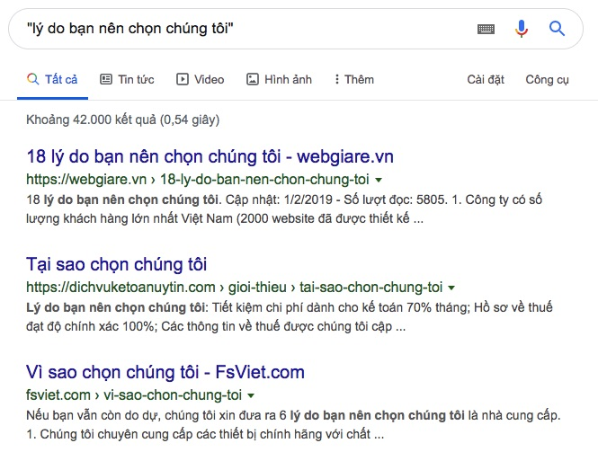 Sử dụng Google Search