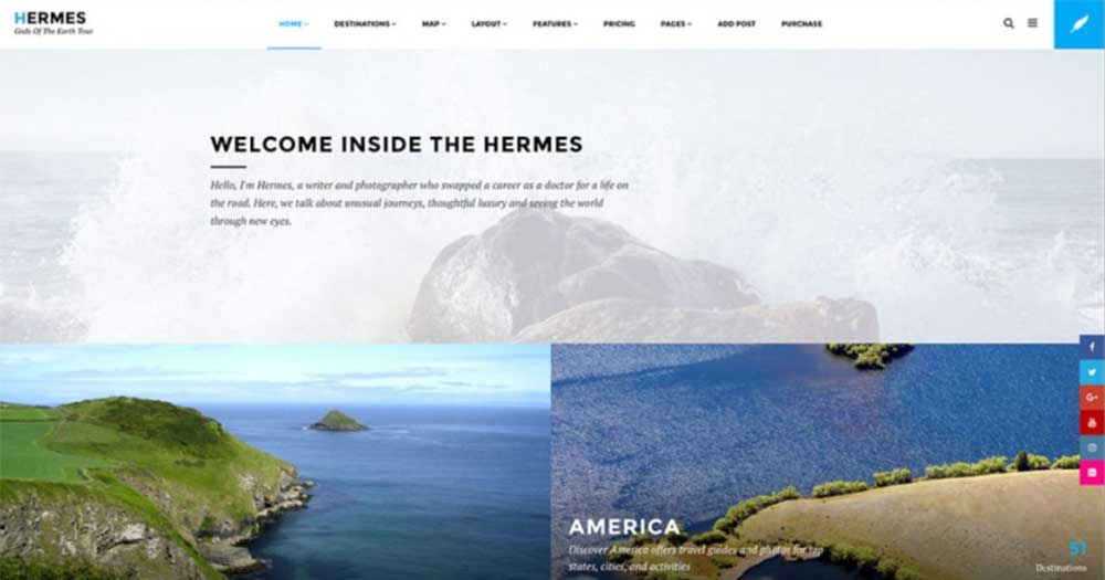 Theme website du lịch Hermes