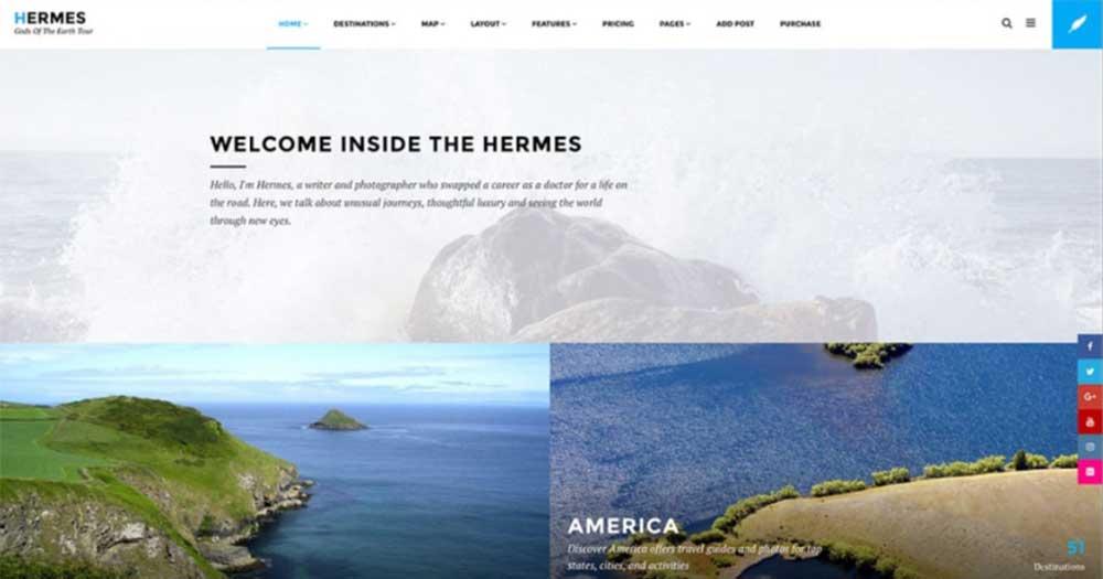 Theme website du lịch Hermes