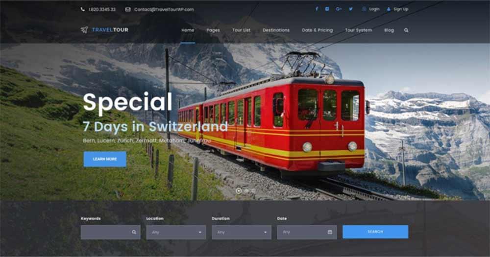 Mẫu thiết kế website du lịch Travel Tour