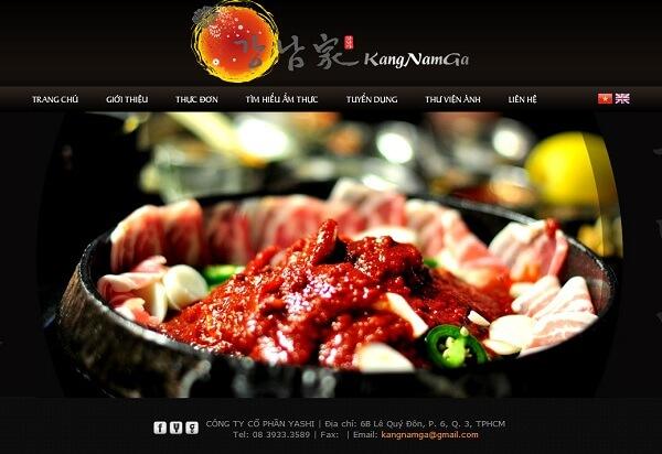 Giao diện đơn giản, chuyên nghiệp từ website nhà hàng