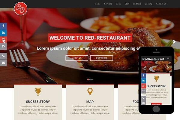Website nhà hàng được hiển thị trên thiết bị di động
